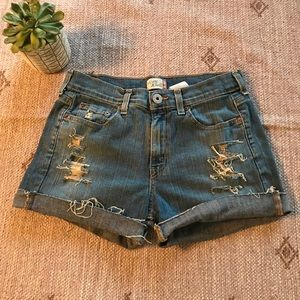Levi's Distressed high rise jean shorts size 8